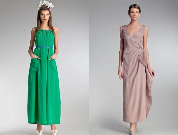 9124cd51ad2 Зеленое и бежевое шелковое платье в интернет бутике Топбрандс Розовое и  длинное ...